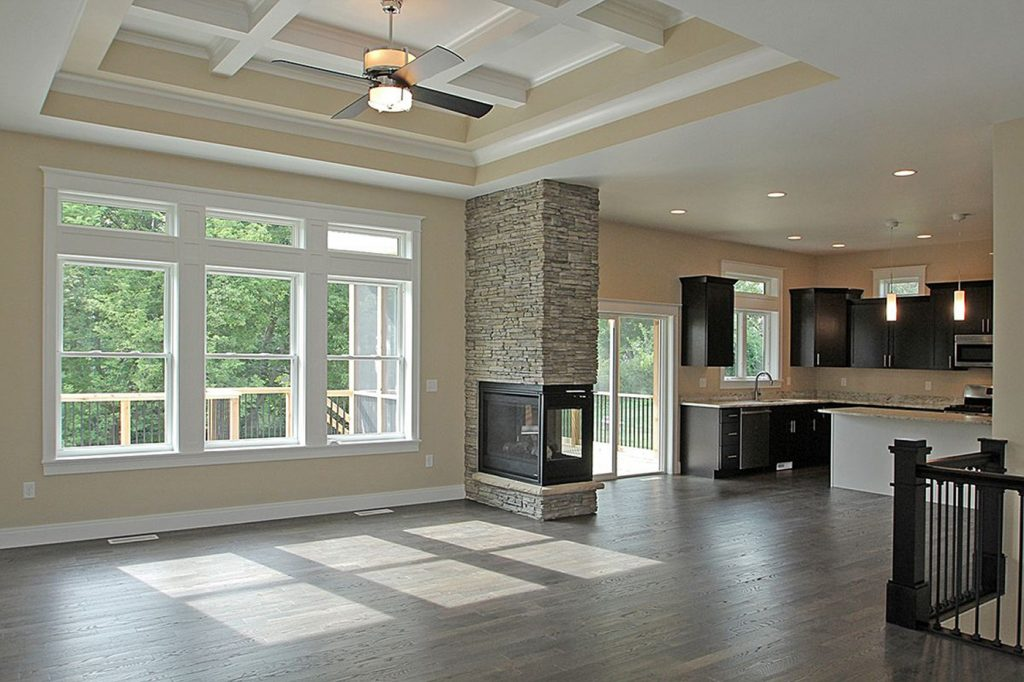 SGA Construction new home interior kitchen with fire place