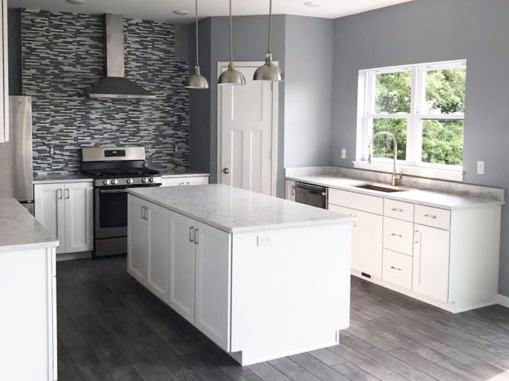 SGA Construction new kitchen white and grey theme with backsplash
